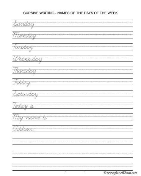 learn cursive writing  printable worksheet
