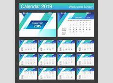 2019 desk calendar template blue styles vectors free download