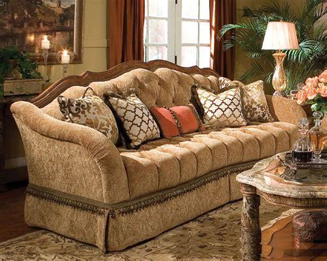 aico wood trim tufted sofa villa valencia ai  green