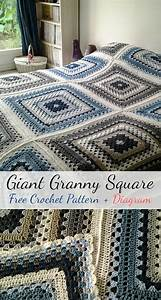 Free Crochet Pattern  Giant Granny Square   Diagram