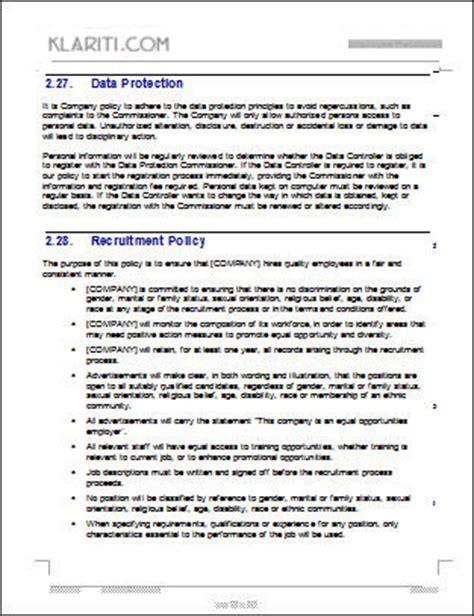 Employees Handbook Free Template by Employee Handbook Template 100 Pg Ms Word