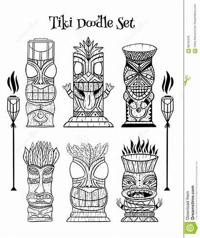 Tiki Gravure Het Toorts Idolen Polynesische Houten