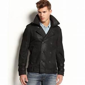Lyst - Guess Coated Denim Jacket in Black for Men