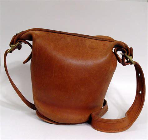 vintage coach leather bucket purse rich camel color