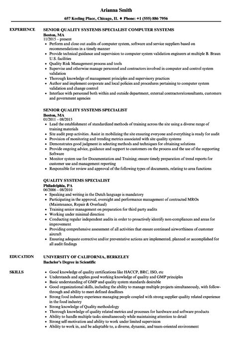 Quality Specialist Resume by Quality Systems Specialist Resume Sles Velvet