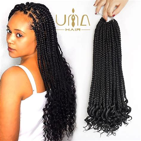 Amazon.com : UNA (4Pieces) Curly Box Braids Hair 20inch