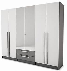 Armoire 6 Portes : armoire 6 portes 2 tiroirs effy blanc gris ~ Teatrodelosmanantiales.com Idées de Décoration