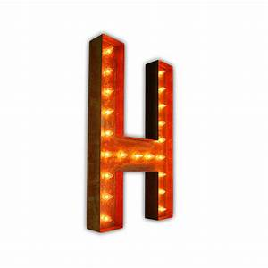 rusty 36 inch letter h marquee light by vintage marquee lights With 36 inch marquee letters