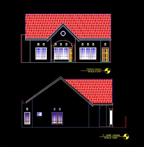 gambar autocad desain rumah tinggal  meter
