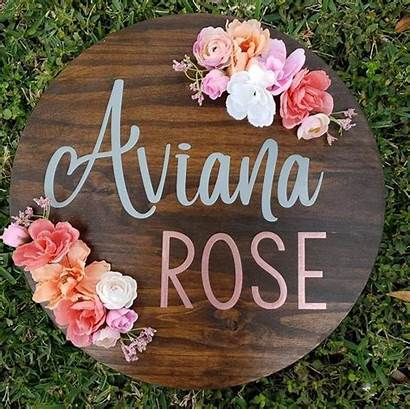 Nursery Round Signs Sign Wooden Floral Names