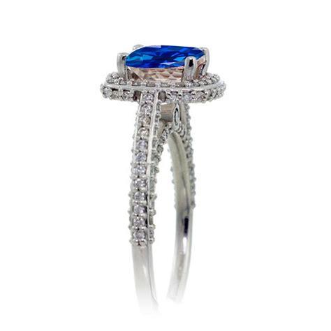 2 5 carat cushion cut designer sapphire and halo