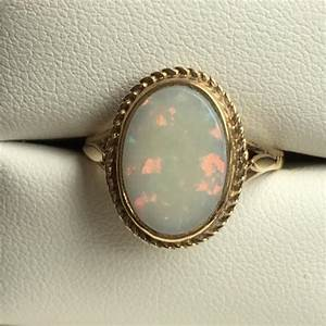 vintage opal ring 3 carat white opal in 9k yellow gold With vintage opal wedding rings
