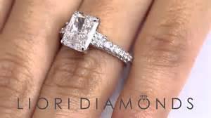 radiant engagement ring er 1224 3 28 ct egl certified h vs2 radiant cut engagement ring 14k white gold