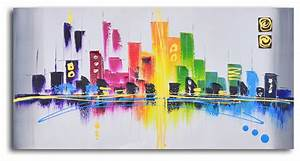 rainbow city scape hand painted oil painting modern With kitchen cabinets lowes with new york city canvas wall art