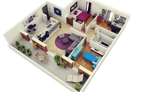 2 Bedroom House Plans Designs 3D beautiful home House