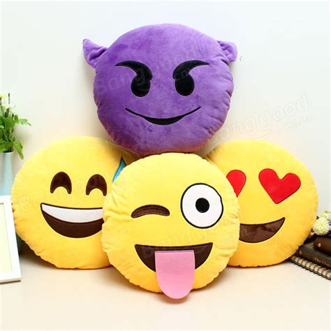 emoji smiley emoticon yellow  plush soft doll toy