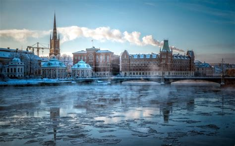 Riddarholmen city stockholm cities buildings winter ice