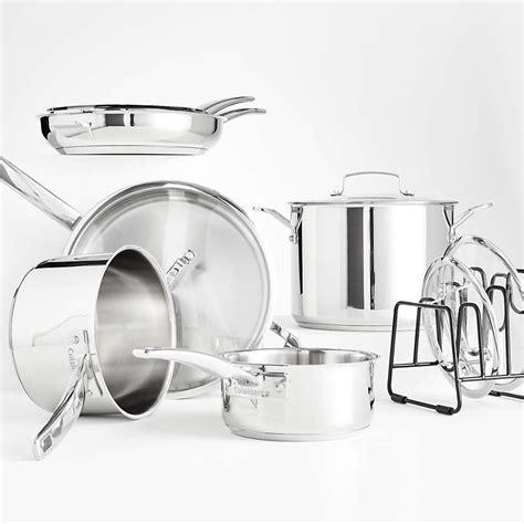 cuisinart smartnest stainless steel  piece cookware set reviews crate  barrel