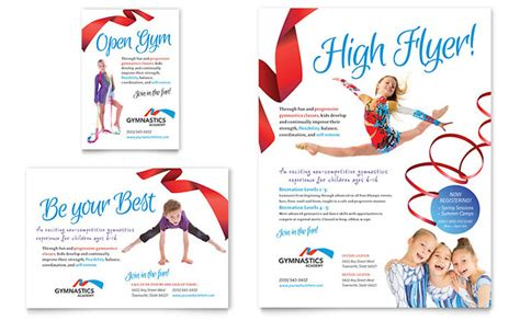 gymnastics academy flyer ad template design