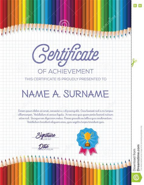 certificate template  colorful pencil frame