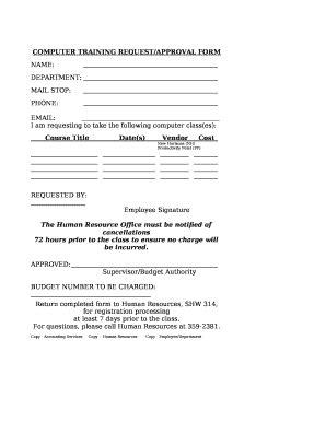 computer training  template pdffiller