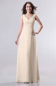 cream guest dress simple empire sleeveless zip up With cream wedding dresses plus size