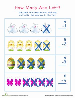 subtraction  visual learners easter  worksheet
