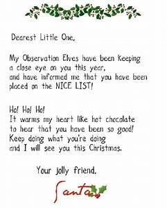 nice list letter from santa christmas ideas pinterest With nice list santa letter