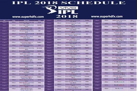 ipl 2018 schedule free here superhdfx