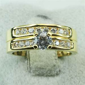 18k yellow gold filled cz engagement wedding women band for 18k gold wedding ring set