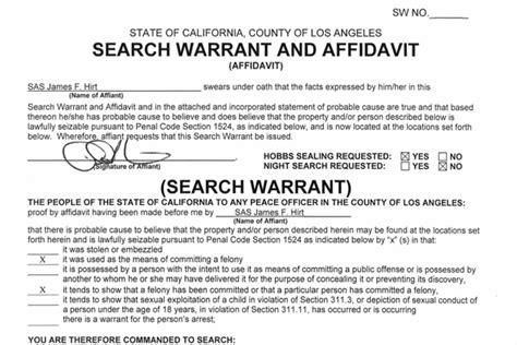 Example Of Probable Cause Affidavit