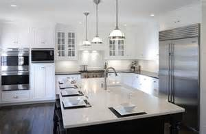 kitchen island with hanging pot rack transitional white kitchen w black island transitional