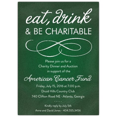 chalkboard green charity invitations paperstyle