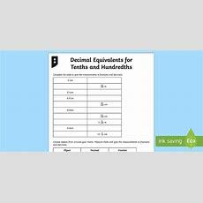 Decimal Equivalents For Tenths And Hundredths Measurements