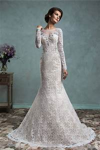 long sleeve lace mermaid wedding dress with illusion With wedding dress with long lace sleeves