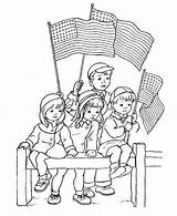 Coloring July Pages 4th Parade Watching sketch template