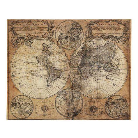 carte maison du monde toile effet vieilli 73 x 93 cm mappemonde maisons du monde