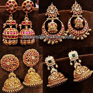 22 Carat Gold Jhumka Designs Temple Jhumkas New Collection Jewellery Designs