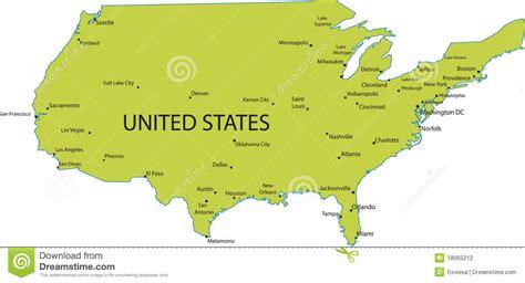 map  usa  major cities stock vector illustration