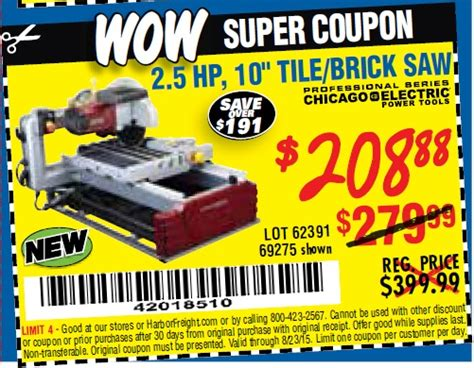 harbor freight tile saw 10 28 images chicago electric