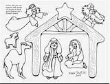 Nativity Christmas Coloring Scene Pages Jesus Printable Manger Figures Drawing Simple Template Characters Lds Line Cut Getcolorings Adults Serendipityhollow Serendipity sketch template