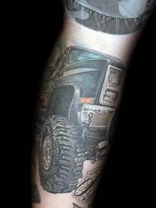 Back Arm Design 60 Truck Tattoos For Men Vintage And Big Rig Ink Design