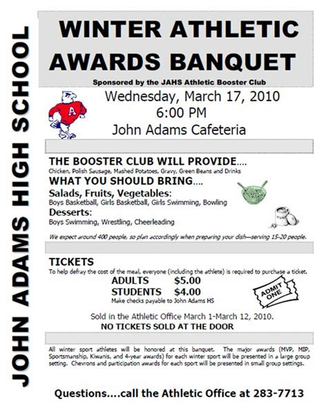 sports awards banquet program template athletic booster