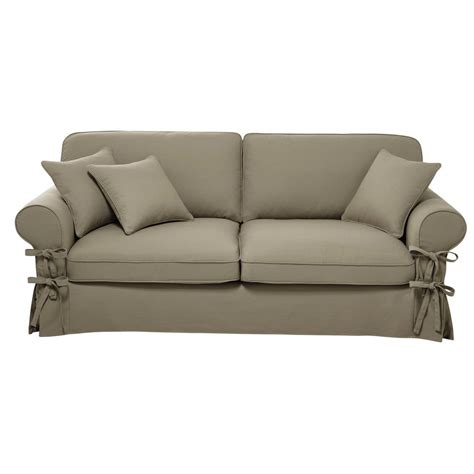 butterfly sofa 3 4 seater cotton sofa in putty butterfly maisons du monde
