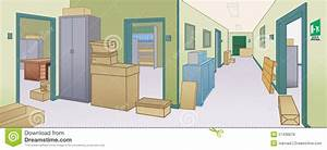 Office Environment With Dangerous Obstacles Doors Stock