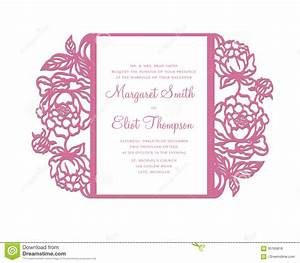 peonies laser cut invitation template stock vector image With laser cut wedding invitations free download