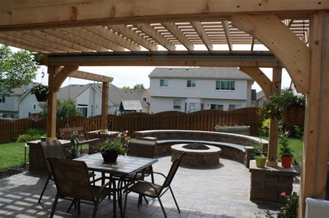 paver patio pit seat wall pergola w swing