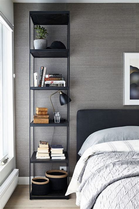 contemporary night stands bedroom  gray accent