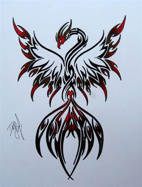 black  red tribal phoenix tattoo design red phoenix