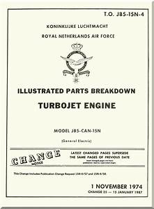 Ge J85 Aircraft Turbo Jet Engine Illustrated Parts